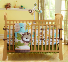 Promotion! 7PCS embroidered Baby Cot Bedding Set Baby cradle cot bedding set cunas ,include(bumper+duvet+bed cover+bed skirt)