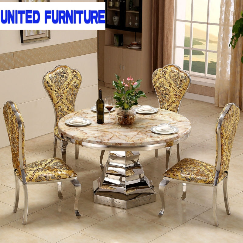 Round marble dining table for dining room furiture stainless steel dining table(China (Mainland))