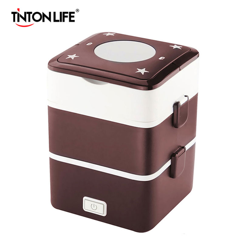 Electric heating container Mini rice cooker double insulation plug heating multi-function cooking steaming lunch box(China (Mainland))