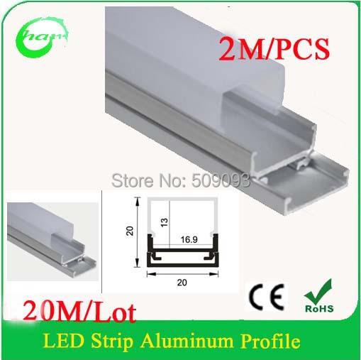 10pcs/lot total 20M led profile 2m long led aluminium with transparent milky cover 16mm led strip aluminium profile(China (Mainland))