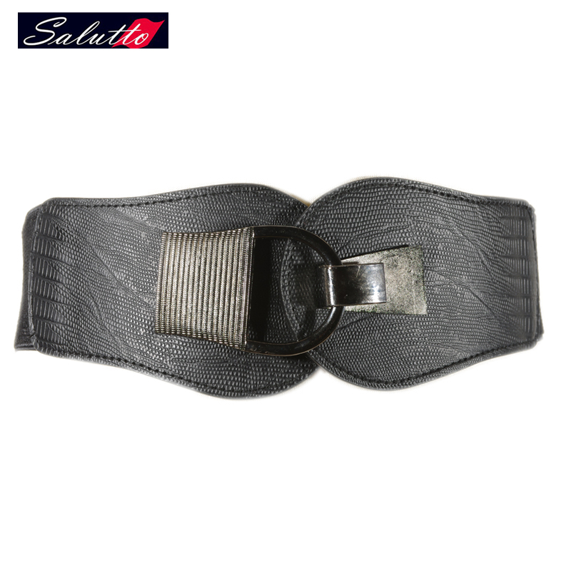 2016 New Belt Decorative Elastic Belts for Women Metal twist Wide Fashion Waistband Elastic Belt color Black(China (Mainland))
