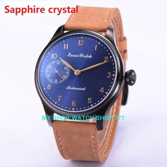 Сапфир crysta 44 мм PARNIS ST3600/6497 Механическая Рука Ветер мужские часы Механические часы PVD корпус часов новая мода 362CA