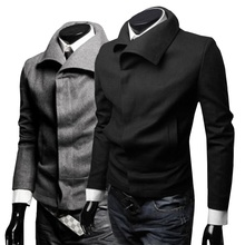 New Dress Fashion 2015 Winter Men Trench Coats Slim Fit Stylish Solid Woolen Black/Gray Men Trench Overcoat M-XXL(China (Mainland))