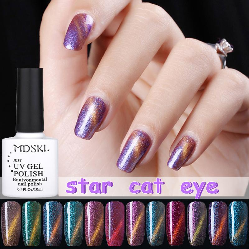 MDSKL 12 Colors Magnetic Cat Eyes Gel Nail Polish LED UV Gel Lacquer 10ML Gel Lak Vernis Semi Permanent Nail Art Need Black Base(China (Mainland))