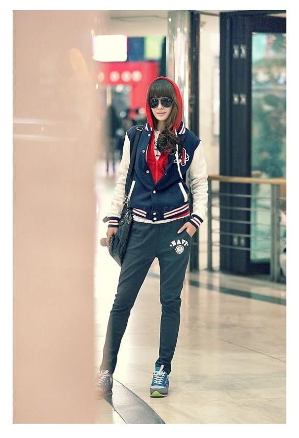 Freeshipping Korean Sweatshirt Women Sports Costumes Tides Leisure Baseball Uniform Jacket Coat Sweatshirt 2 Colors 24(China (Mainland))