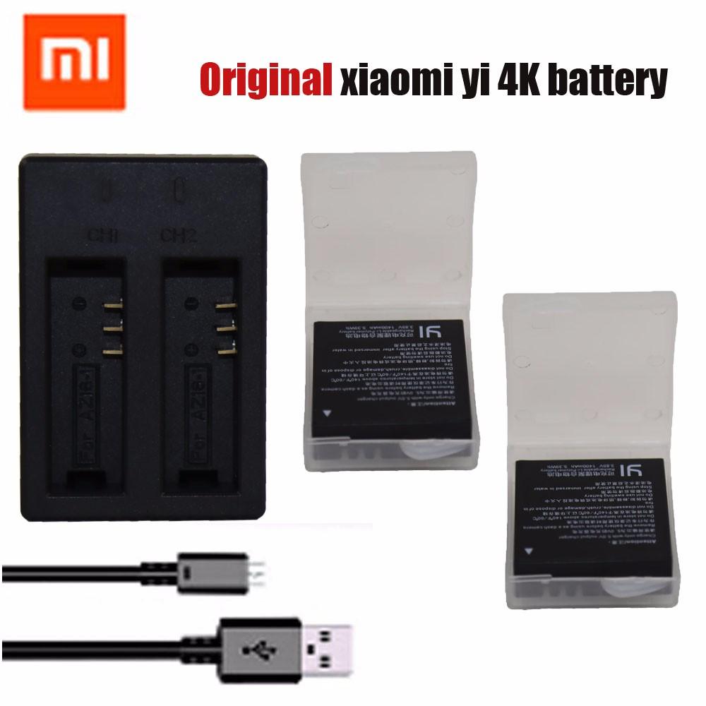 Original Xiaomi Yi 4K II Battery 2PCS 1400mAh Battery + Dual USB Charger For XiaoYi 4K 2 Action Camera II Xiaomi Yi Accessories