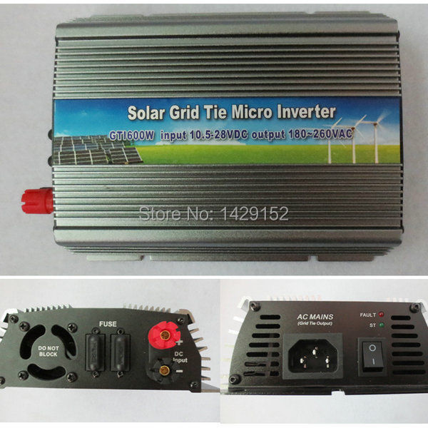 600w solar grid tie inverter .AC90-260v,dc10.8-28v home&office solar system use .600w power inverter(China (Mainland))