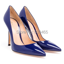 sexy bule pointed toe high heels Patent Pumps for women dress party shoes 2015(China (Mainland))