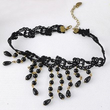 1PC Women Retro Black Gothic Lace Collar Choker Necklace Tassels Fashion Jewelry