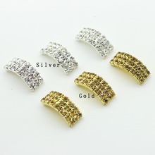 10pcs/lot Factory Outets Metal 20mm*9mm*6mm diamond Buckle Arching Wedding Diy Hair accessory Bling(China (Mainland))