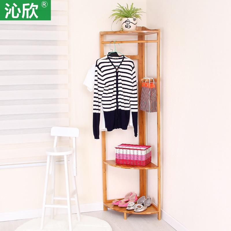 Corner corner frame wood coat rack hanger floor corner bedroom creative simple clothes rack hangers(China (Mainland))