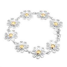 Free transport,925 silver jewellery Bracelet ,Separation daisy bracelet, trend jewellery Bracelet wholesale worth! S199