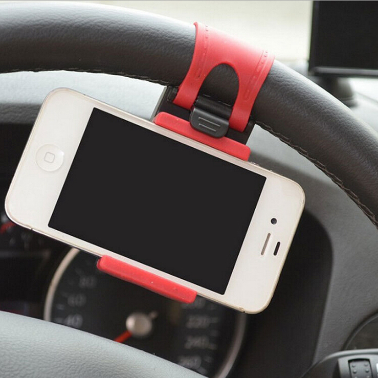 1PC Car Steering Wheel Mount Holder Rubber Band I-Phone iPod MP4 GPS Mobile Phone Holders - cindy beauty shop store