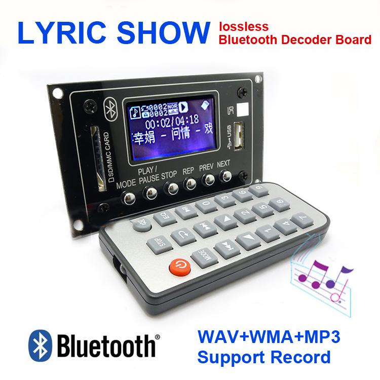 12V Lyric Show Bluetooth MP3 Decoding Board USB/SD/AUX/FM DIY MP3 Decoder board for car digital LED Record MP3 KIT(China (Mainland))