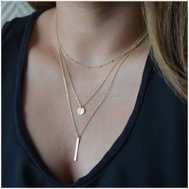 Fine Jewelry Limited Accessories 2015 Simple Necklace Metal Strip Round Sequins Three Layered Necklaces Clavicle Chain For Women(China (Mainland))