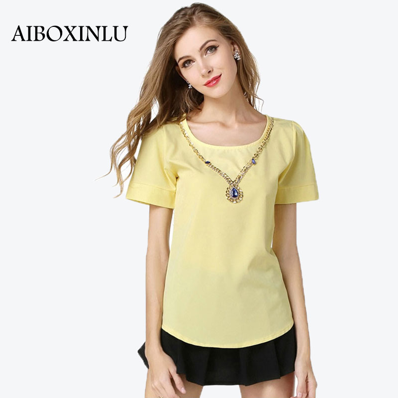 AIBOXINLU Ladies Modest Formal Office Work Wear Simple Tops Plain O-Neck Dip Hem Short Sleeve Beautiful Loose Blouse(China (Mainland))