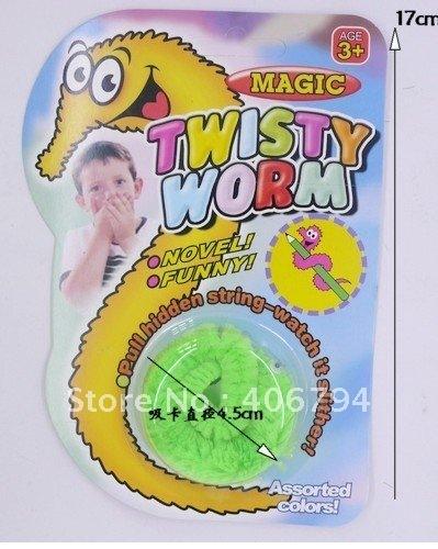 60pcs/lot /Magic worm/Squirmles/Slideyz/Twisty worm/wiggles/Bulk packing/Magic Tricks/free shipping