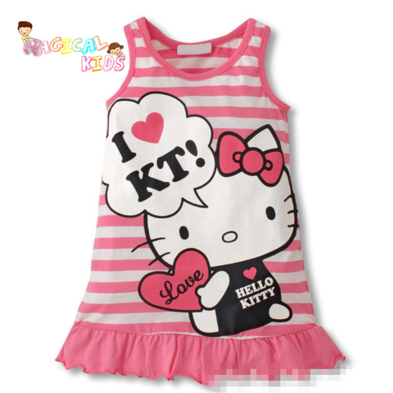 2016 Cute Red and Pink Princess Dress Summer Kids Girls Clothes Lovely Cartoon Cat Child Clothing Girls Baby Sleeveless Dress(China (Mainland))