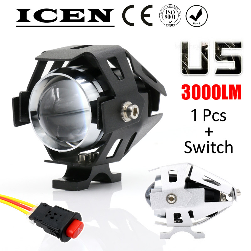1 PCS 125W 2 Color Motorcycle Motorbike Headlight 3000LMW Upper Low Beam & Flash CREE U5 LED Driving Fog Spot Head Light Lamp 11(China (Mainland))