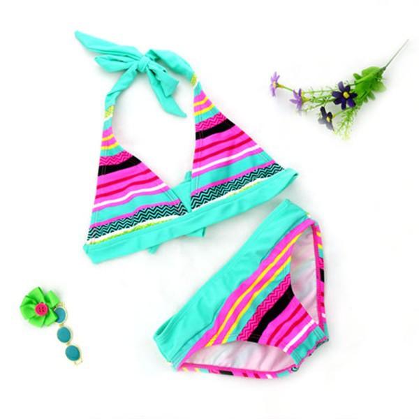 Summer Beach Kid Girls Striped Swimsuit Sunshine Backless Bikini  Bra Tops+ Brief<br><br>Aliexpress