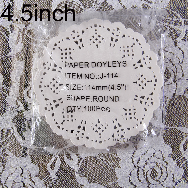 "Creative Craft 4.5"" Inch Round White Paper Lace Doilies Cake Placemat Party Wedding Gift Decoration 100pcs/pack(China (Mainland))"