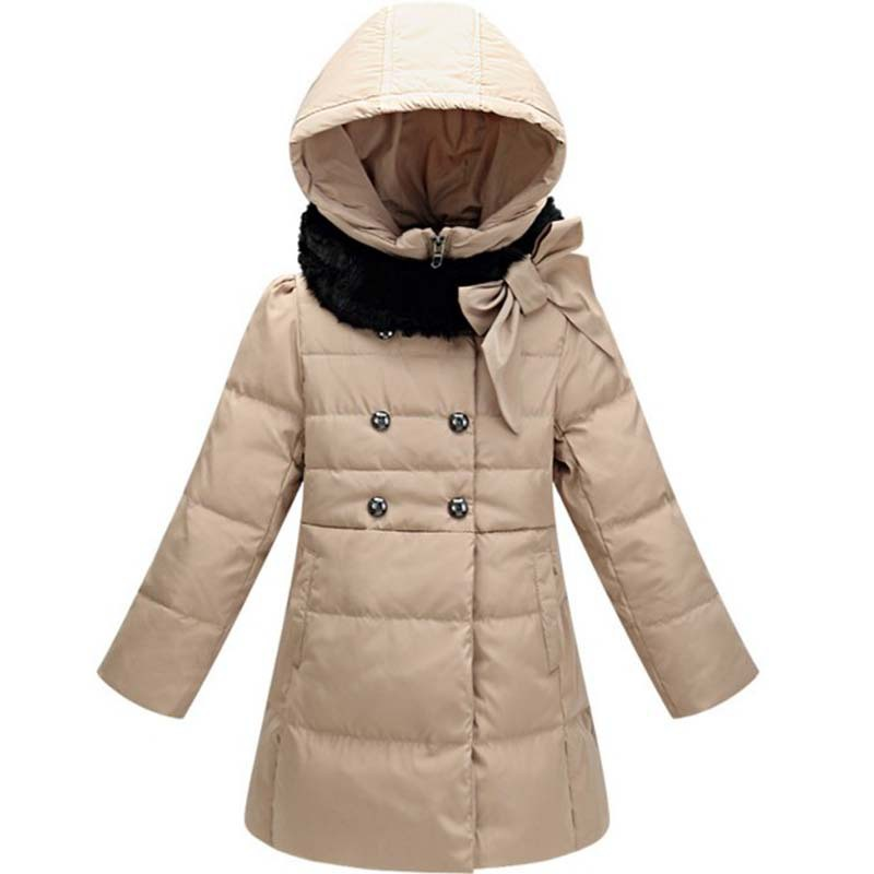 2015 Winter Jacket Girls Double Breasted Bowknot Fur Collar Coat Children Outerwear Parka Retail 1PC ZZ3239