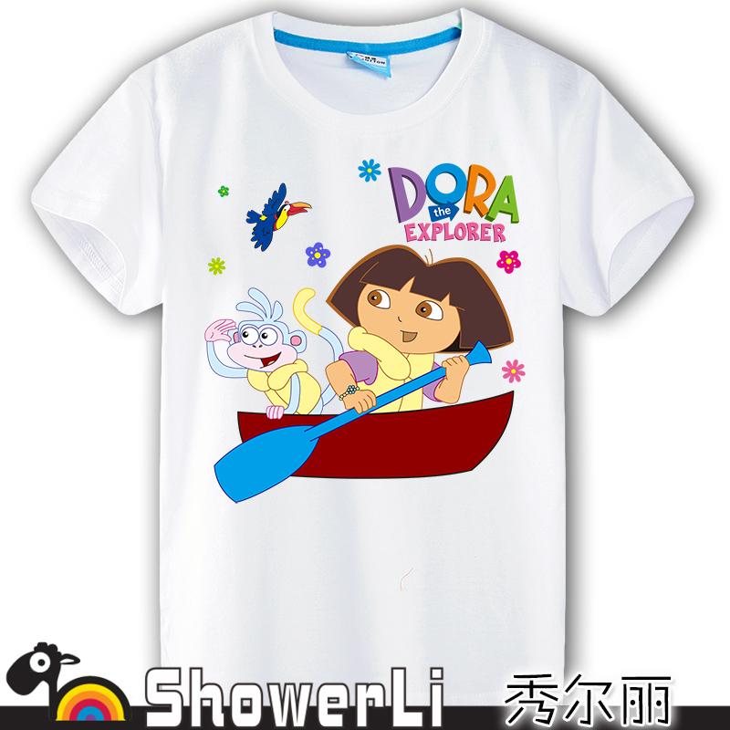 short sleeve children t shirts,kid boys girls wear Cartoon dora the explorer and his friend train good quality(China (Mainland))