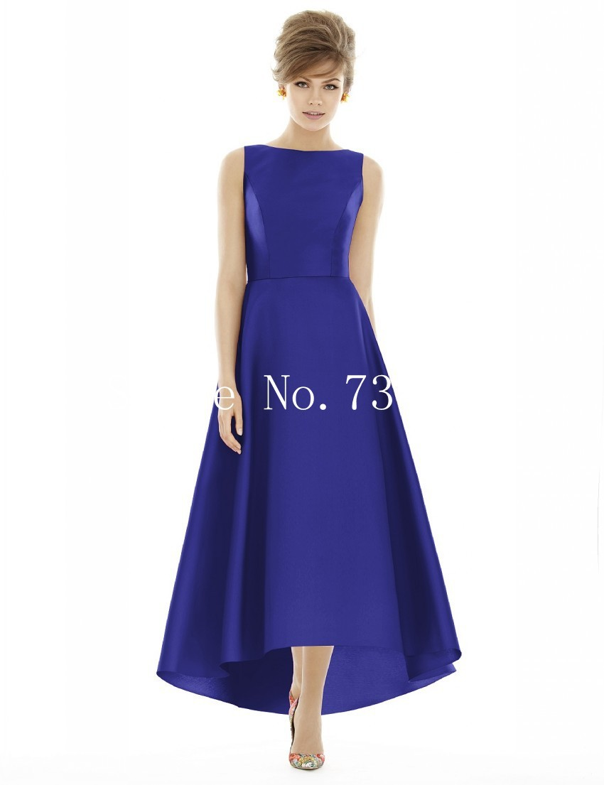 Royal blue satin bridesmaid dresses expensive wedding celebration