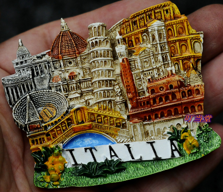 Italy city of Venice Milan Fontana di Trevi manual resin Refrigerator Fridge Magnet(China (M