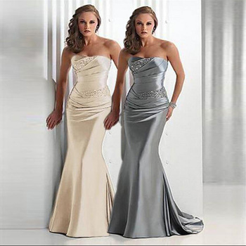 On Sale 3 Days Send Fast Delivery High Quality Sweetheart Sleeveless Mermaid Silver/Gray Evening Dresses Women