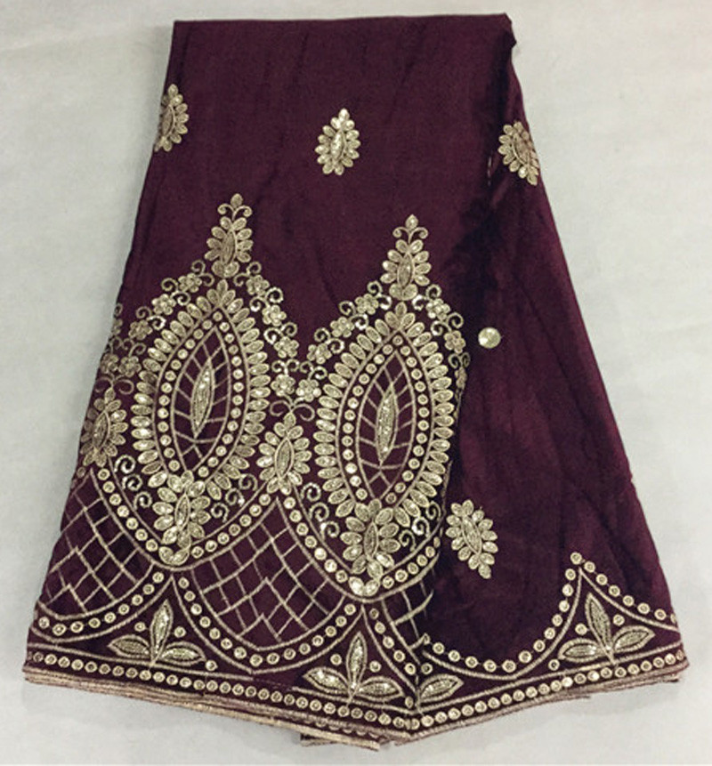 Здесь можно купить    (5 yards/pc ) soft smooth African velvet fabric in wine red with luxury gold sequins embroidery for dress VLS06G  Дом и Сад