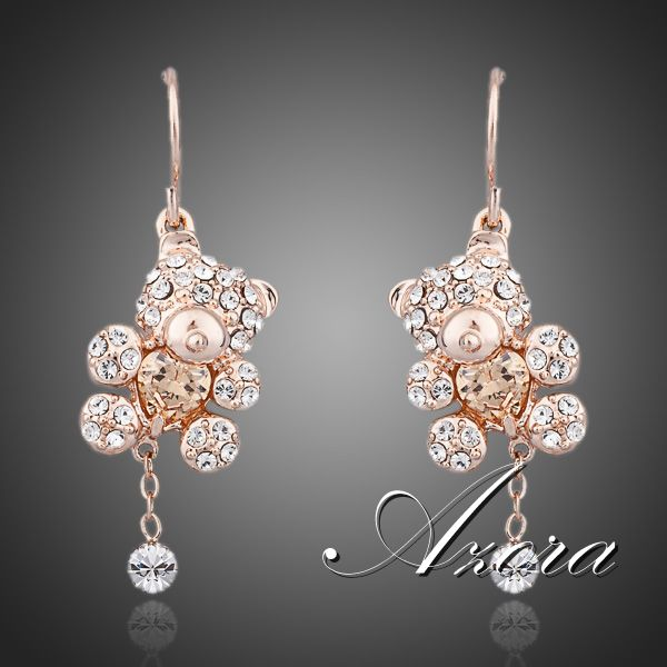 Lovely! 18K Rose Gold Plated Austrian Crystals Paved with Heart Shape Zircon Bear Jewelry Earrings FREE SHIPPING!(Azora TE0064)<br><br>Aliexpress