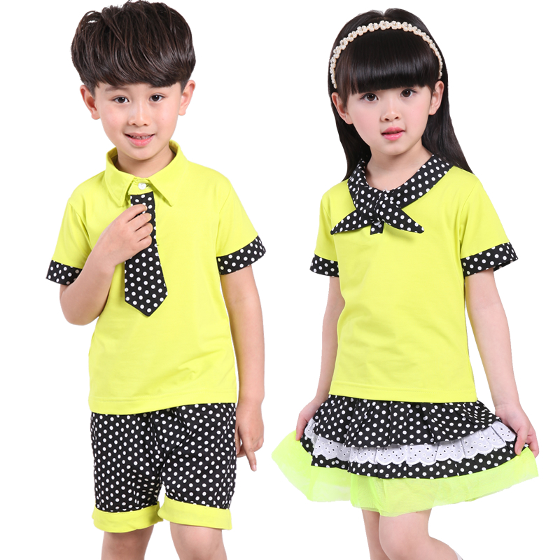school girl uniform2016 New Summer Nursery Park Service Cotton Sports Suit Wholesale School Uniform Clothing for Boys and Girls(China (Mainland))