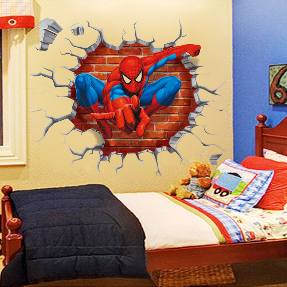 3D cartoon spiderman hero PVC Decals Adhesive Wall Stickers Mural Art Home Decor children boy bedroom nursery birthday gift(China (Mainland))