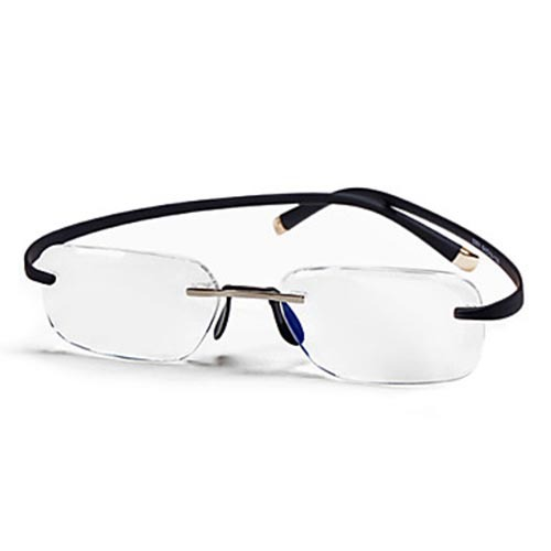 rectangle rimless lightweight reading glasses in reading