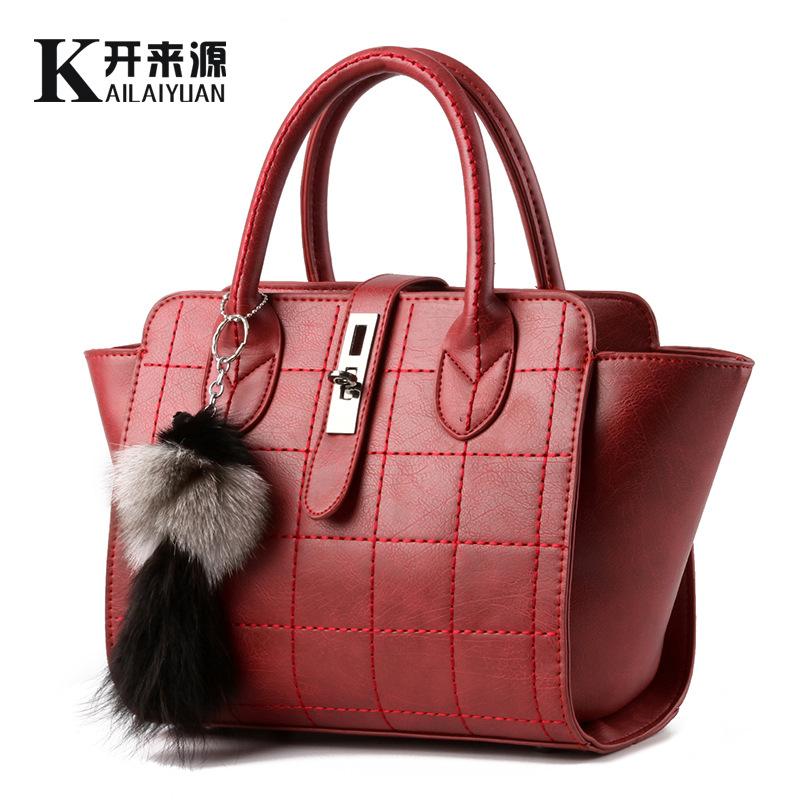 100% Genuine leather Women handbags 2016 new fashionista bag bag explosion models car suture buckle Messenger Shoulder Bag(China (Mainland))