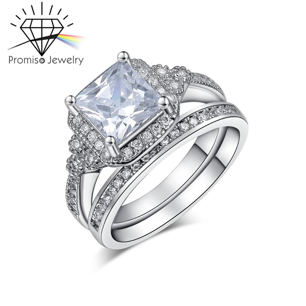 White gold plated big cz diamond rings for women finger for Huge wedding rings for women