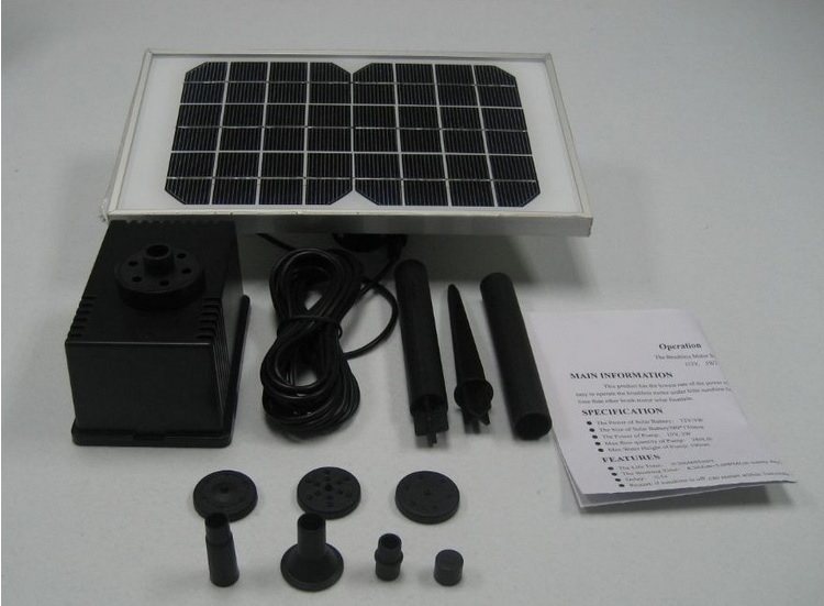 12V 5W Solar Water Pump Power Panel Kit Fountain Pool Garden Pond Submersible Watering(China (Mainland))