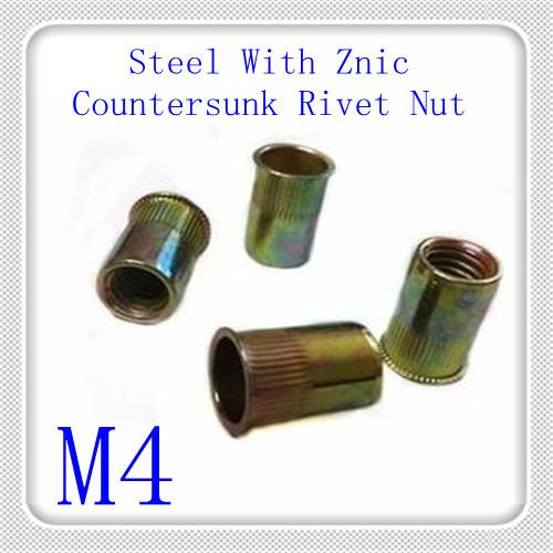 500PCS/LOT M4 Steel With Zinc Countersunk  Rivnut (Countersunk Insert Rivet Nut)<br><br>Aliexpress
