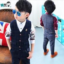 Beibei nuove vestito dei bambini del bambino ragazzi vestiti per bambini gilet bambino  Abito formale per matrimoni ragazzi vestiti set plaid vest + pants 2 pz  2-8y(China (Mainland))