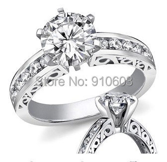 Name Brand Design Ring With 1 Carat Simulated Diamond 925 Sterling Silver 18K Gold Plated Ring Engagement Wedding Ring For Women(China (Mainland))