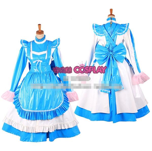 Custom Made Sissy Maid Cotton Lockable PVC Light Blue Dress Uniform Cosplay Costume - Touch sa's store