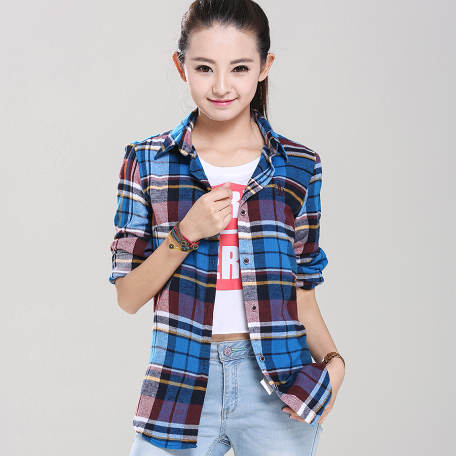 Womens red plaid flannel shirt fit slim casual long sleeve for Types of flannel shirts