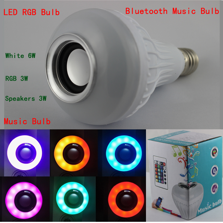 3pcs/lot ce rosh certified 12W led melody music playing wifi control speaker bulb & RGB White Light with remote controller (China (Mainland))