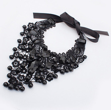 New 2015 Hot Pendant Necklace Women Trendy Jewelry Rope Chain Statement Necklaces Lace Collar RhinestonePendants For Gift Party(China (Mainland))