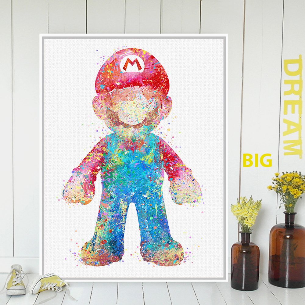 Original watercolor super mario japanese game poster print for Poster decoration murale