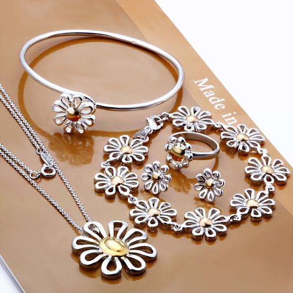silver chrysanthemum charm necklace&banglet&ring&stud set,Factory Lowest price Wholesale silver Fashion Jewelry Set(China (Mainland))