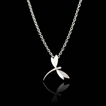Stainless Steel Dragonfly Silver Necklaces Pendants Men Rhinestone Necklace Women Corrente De Prata Pingente Collares Mujer(China (Mainland))