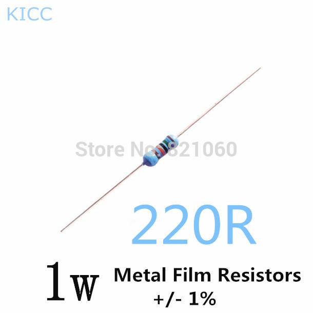 1w 220 ohm 1  metal film resistor 1w 220r  200pcs  lot