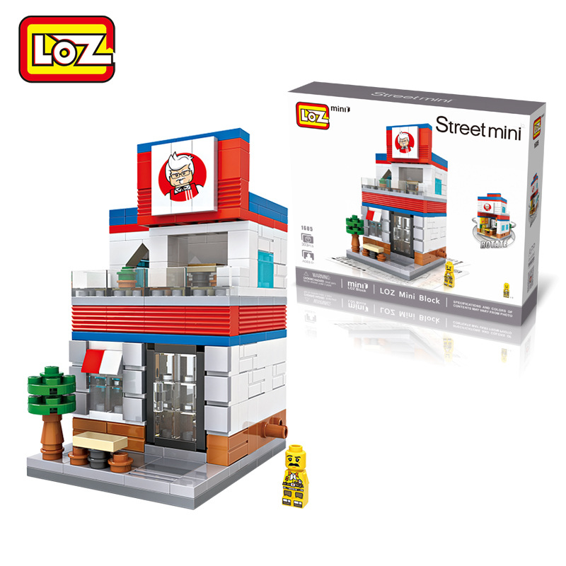 Creative funny mini street landscape scenary shopping market coffee sport burger building block kids toy display(China (Mainland))